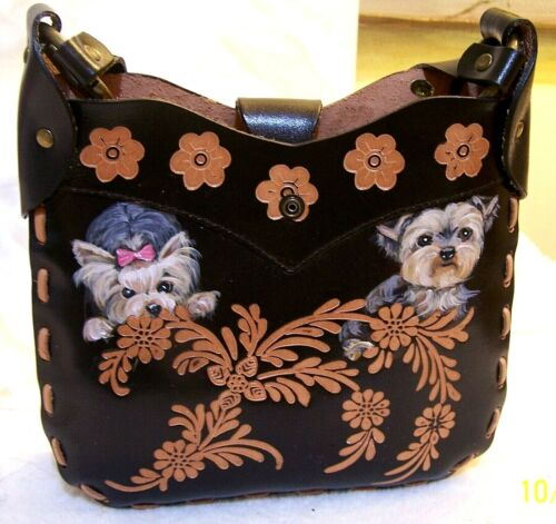 Yorkie hand painted original painting  on genuine leather embossed  Hand bag