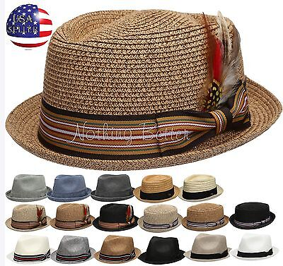 Summer Women Men Straw Pork Pie Fedora with Stripe Or Solid Band Feather Hat  (Felt Hat With Feather)