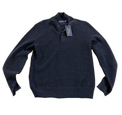 Polo Ralph Lauren Quarter 1/4 Zip Navy Blue Elbow Patch Sweater