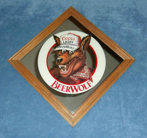 VINTAGE 1986 COORS LIGHT BEER WOLF FRAMED BAR MIRROR