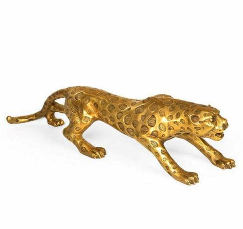 Brass Wild Animals Leopard Figurine Animal Statue Decoration