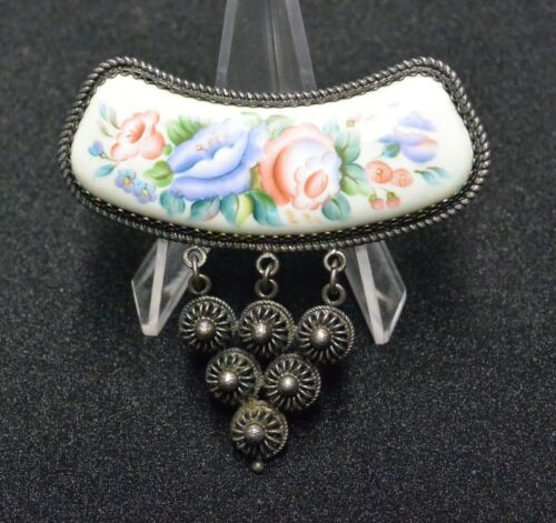 Vintage Russian Rostov Finift Painted Enamel and Filigree Floral Brooch Pin