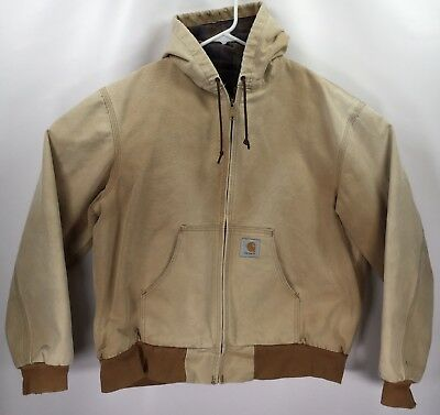 - Mens XL Carhartt Jacket Hooded Plaid Flannel Lined Coat Distressed Duck Canvas