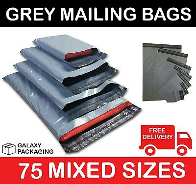 75 MIXED SIZES GREY MAILING POSTAGE POSTAL BAGS 55mu - 25 Each of 6x9 9x12 10x14