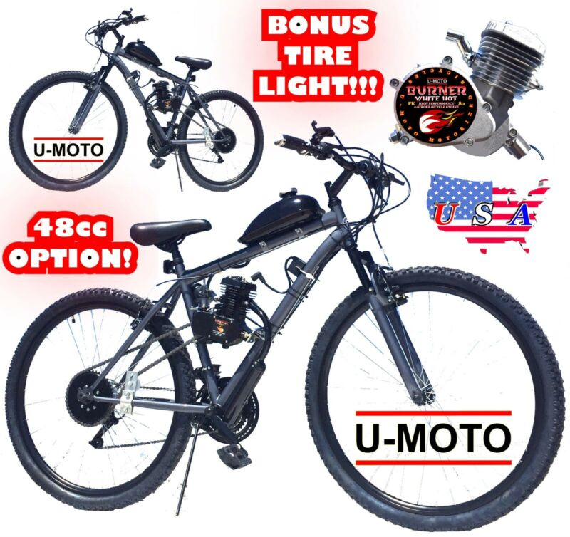 """COMPLETE DIY 2-STROKE 66CC/80CC MOTORIZED BIKE KIT WITH 26"""" MT BICYCLE"""