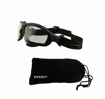 Biker Motorcycle Riding Goggles & Glasses Removable Stem Strap Clear Lens w Case