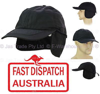 Men Winter Skiing Fleece Ear Warmer Size Adjustable Baseball Visor Cap Hat BLACK Fleece Ear Warmer