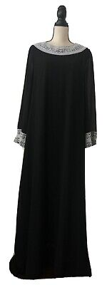 Black Crepe Abaya With White Lace Sleeve Contrast Size L