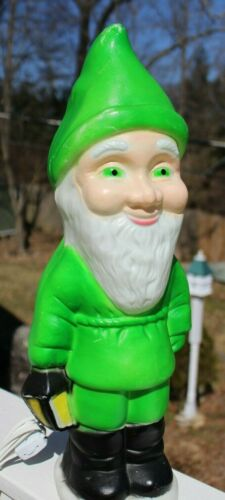 "1988 UNION Products Elf Gnome Leprechaun BLOW MOLD Green 18.5"" tall"