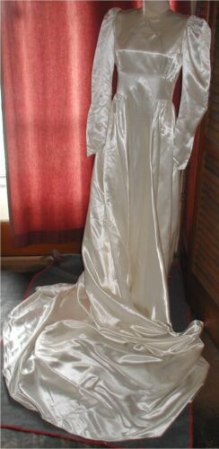 Vtg 50s Ivory Slipper Satin Wedding Gown Dress Cathedral Train Bridal Creation