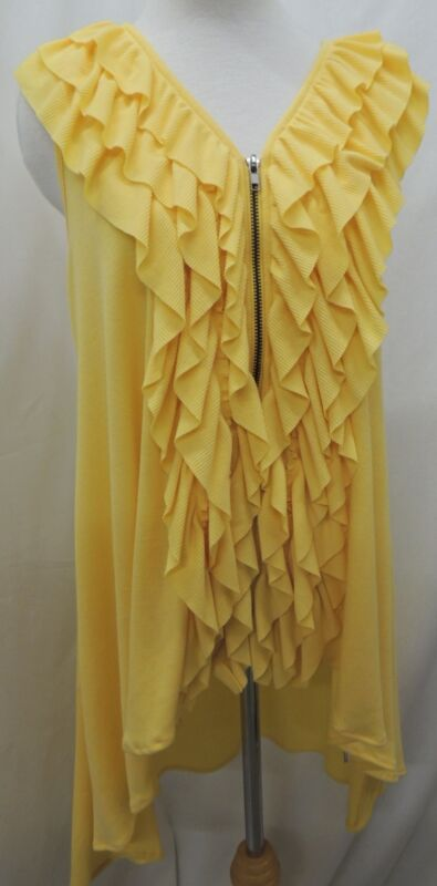 NEW Wish Yellow Zip Front Ruffled Ribbed Asymmetrical Dress Size Large