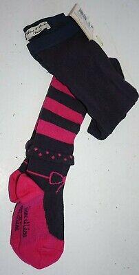 Eliane Et Lena Tights Navy Blue Pink Bow Striped Tights Girls Sz 23/24 2 Years (Pink And Blue Striped Tights)