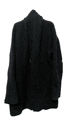 Isabel Benenato Oversized Black Wool Blend Cardigan Sz 40