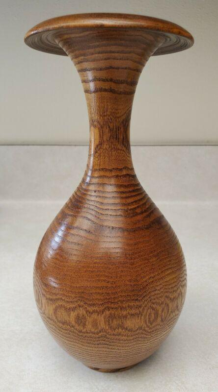 Vintage Turned Wood Vase - Medium Woodtone Decorative Vase Beautiful Wood Grain