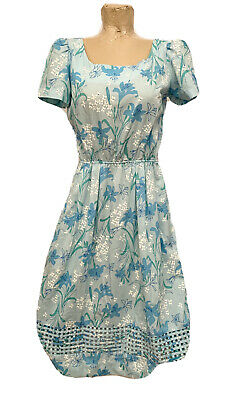 """Vintage Lilly Pulitzer Blue White Floral Dress No Size Tag 18"""" A Line Mid USA"""