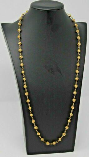 "Signed Crown Trifari Necklace. 32"" Gold Tone Opera Chain. Geometric Metal Beads"