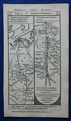 Original antique road map DORSET SURREY, HAMPSHIRE, POOLE BAGSHOT, Paterson 1785