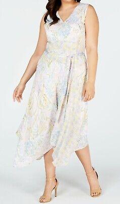 Calvin Klein Womens Dress White Pastel 20W Plus Floral Handkerchief-Hem $149 085