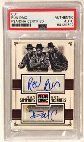 Darryl McDaniels Joseph Simmons RUN DMC DUAL Signed Custom Auto CARD 1/1 PSA/DNA