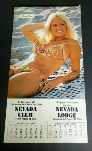 Nevada Club Calendar 1972 Casino Reno Lake Tahoe Pinup Bikini Women Lodge Vtg