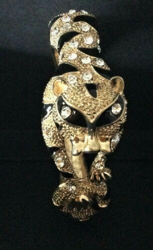 Vintage Gold Tone Metal and Enamel Tiger Head Bangle Bracelet  with rhinestones