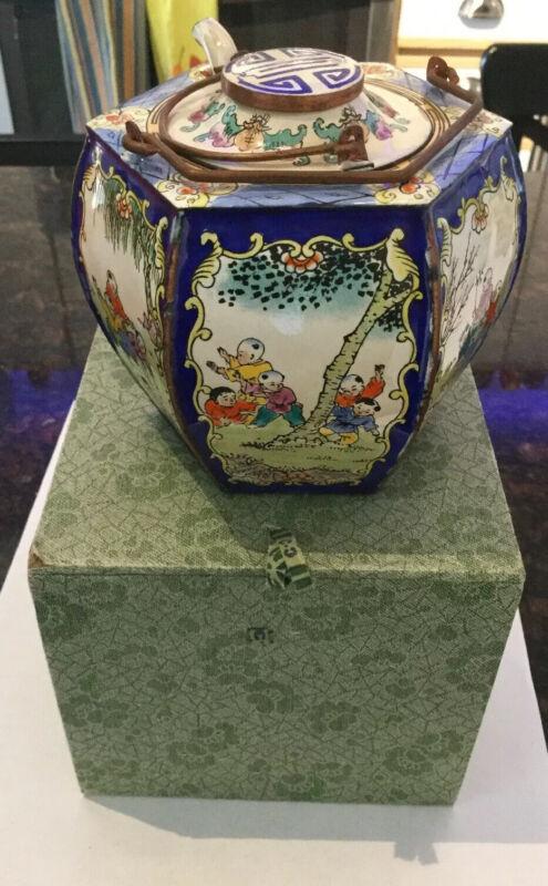 Unique Antique China Copper Enamel Teapot Hot Wine