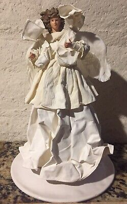 """White Angel Feather Wings Tree Topper Table Decoration Porcelain Face 12"""" NWT"""