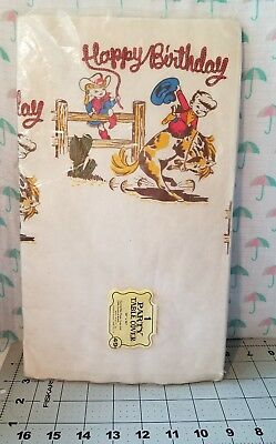 Birthday Paper Products (3.15.1) Vtg Beach Products Happy Birthday Rodeo Bronc Crepe Paper Table Cloth)