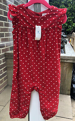 BNWT GAP Baby Girl 12-18 Months Red With White Hearts Romper Suit