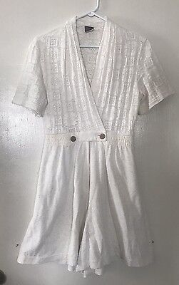 Womends Knit Trends Romper Size 4 Lace Top Cotton Blend Cream ECU Dress ()