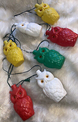 EUC Vintage Noma String of 7 Blow Mold Plastic Owls Patio RV Camping Lights Set