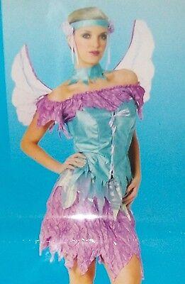True Blue/Purple Fairy Costume w/Wings Adult Sexy Halloween Women S 6-8 - True Blue Fairy Costume