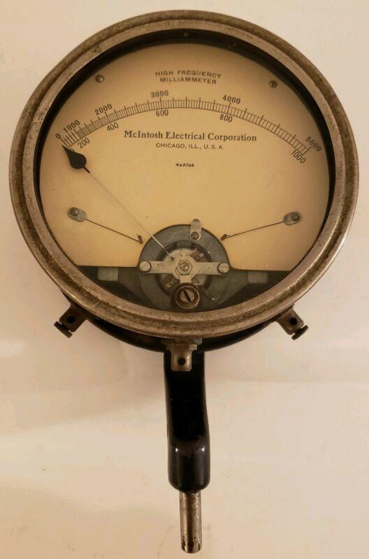 Vintage McIntosh Electrical Corporation Milliammeter Gauge Meter with Bracket