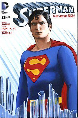Chritopher Reeve as Superman variant cover blank original art by Ed Lloyd