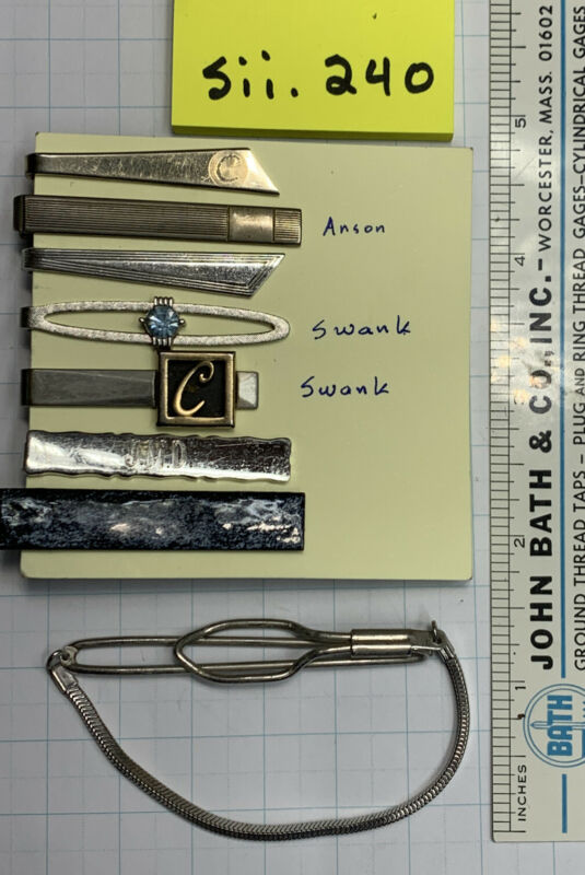 tie clips, lot of men's tie clips, eight piece, open to offers — Sii.240