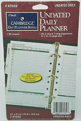 Mead Planner 47302 Refill Undated Daily Planner 30 Sheets Franklin Day Runner