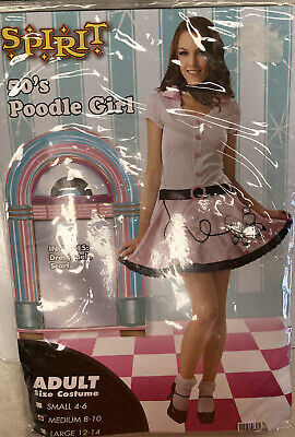 Spirit 50s Poodle Girl Adult Medium Halloween Costume Dress Belt Scarf - New
