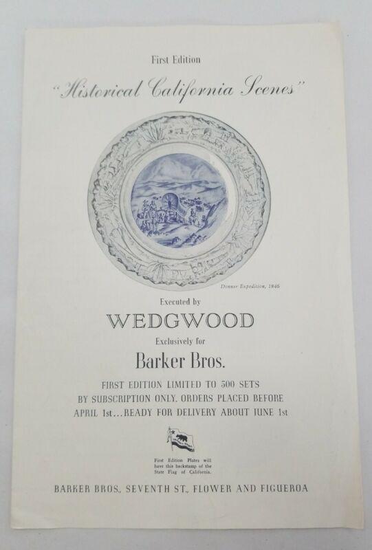 Flyer Offering Historical California Scenes Plate Wedgwood Barker Bros