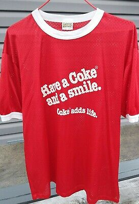 "Vintage 1980s Coca Cola ""Have A Coke And A Smile  Nylon Mesh T-Shirt By ELY. Lg."
