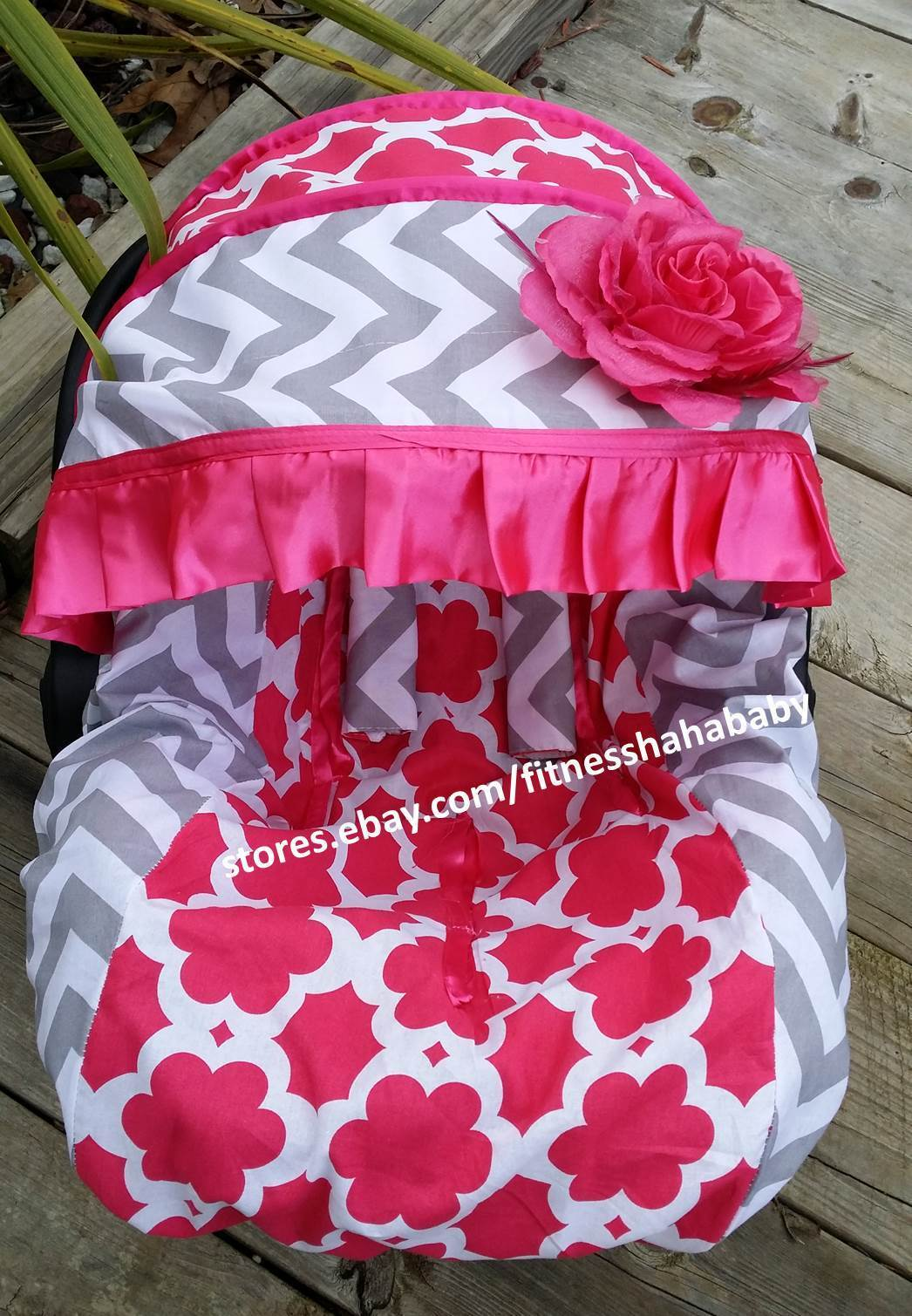 Baby Hot Pink Flower Infant Car Seat Cover Canopy Cover Fit Most