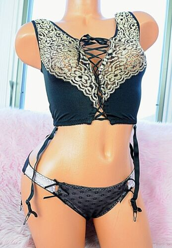 VTG Black Nylon Embroidered Gold Mesh Sexy Bustier Camisole Top w Garters sz 32