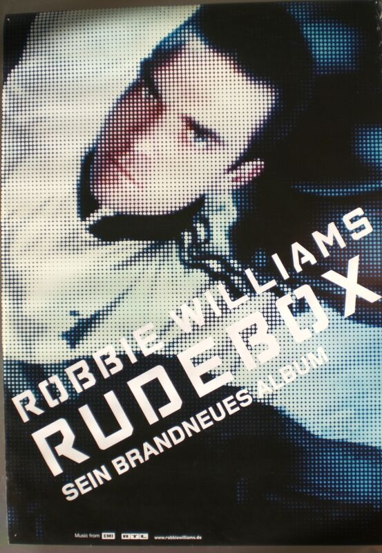 "ROBBIE WILLIAMS ""RUDEBOX - SEIN BRANDNNEUS ALBUM"" GERMAN PROMO POSTER"