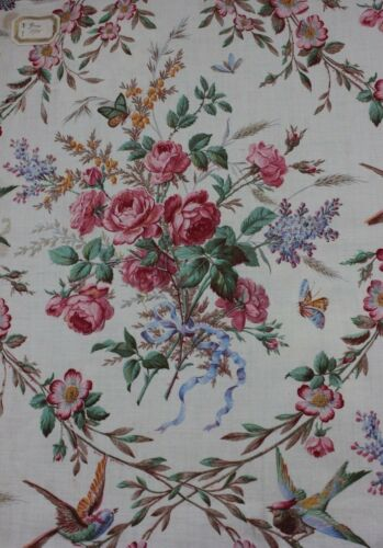 Beautiful French Antique Roses, Ribbons & Birds Cotton Home Fabric Sample c1875