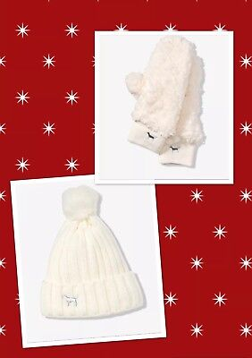 Victorias Secret PINK 2018  Holiday Sherpa Lined Beanie Hat And Mitten Set Cream ()