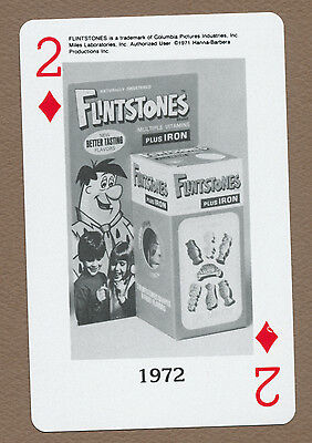 Miles Laboratories Flintstones playing card single seven of clubs - 1 card