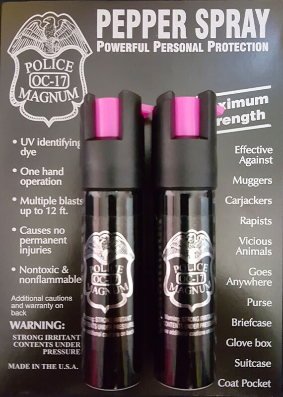 2 Police Magnum pepper spray .75oz hot pink safety lock self defense protection