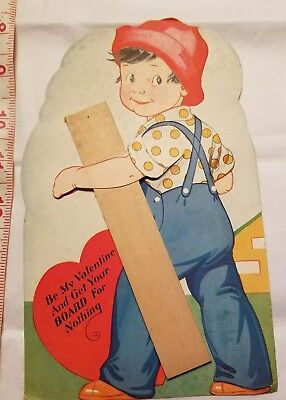 Large Antique 1938 Die Cut Valentine Card Carrington Company Boy with Board