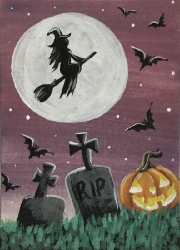 ACEO Original Halloween Gouache & Acrylics Sketch Card Tombstones Pumpkin Witch
