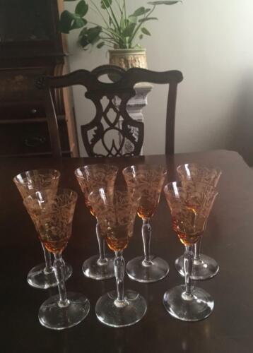Set of 7 Antique Etched Crystal Cordial Glasses Beautiful Amber Color