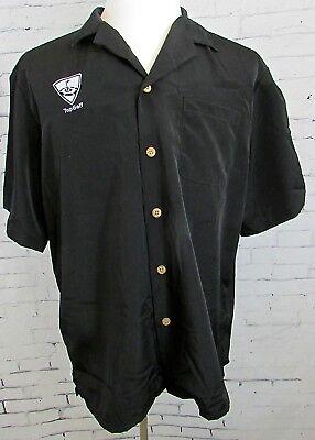 Mens Top Golf Button Up Work Shirt Black Size Large
